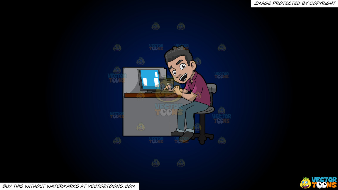 A Happy Male Employee In His Office Cubicle On A Dark Blue And Black Gradient Background thumbnail