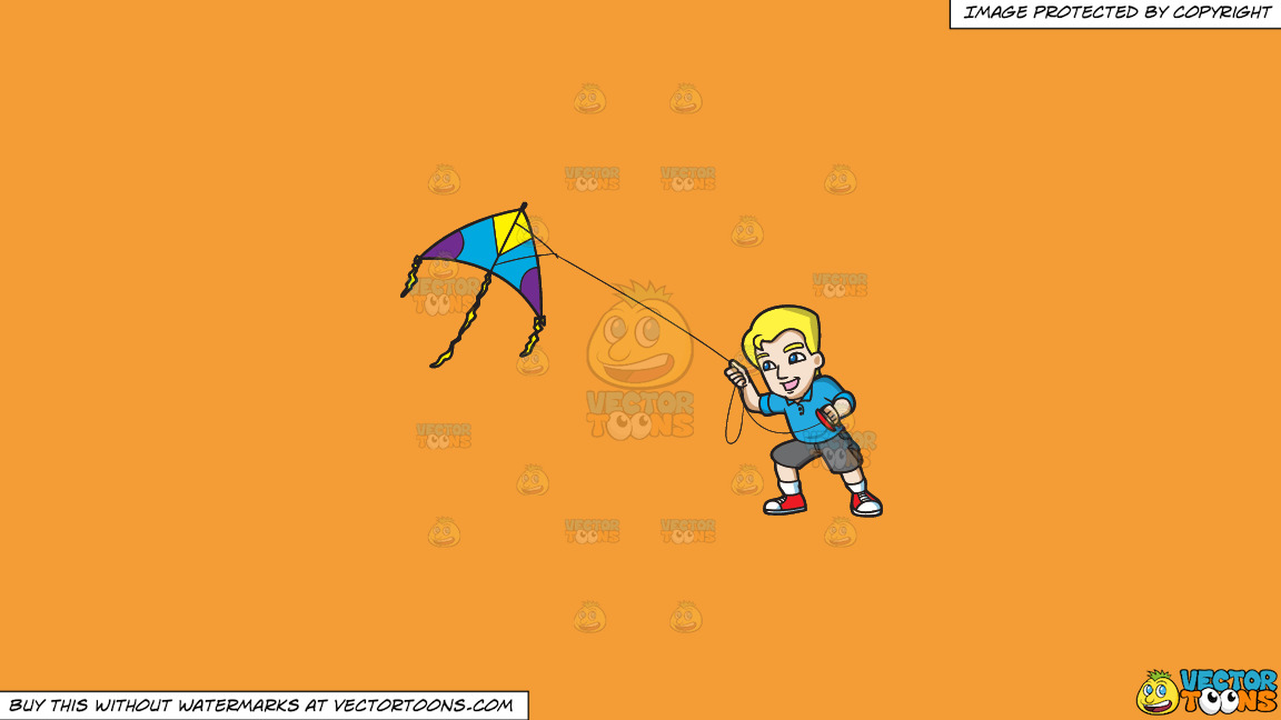 A Happy Man Controlling A Kite On A Solid Deep Saffron Gold F49d37 Background thumbnail