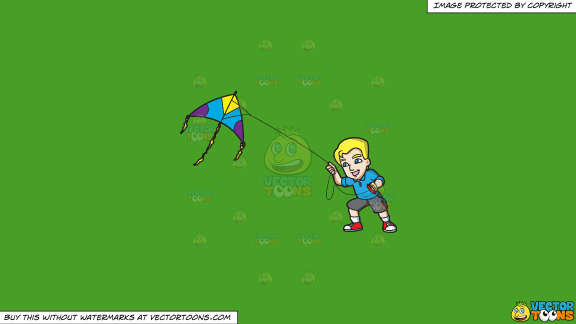 A Happy Man Controlling A Kite On A Solid Kelly Green 47a025 Background thumbnail