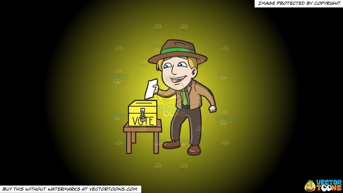 A Happy Man Dropping His Ballot In The Ballot Box On A Yellow And Black Gradient Background thumbnail