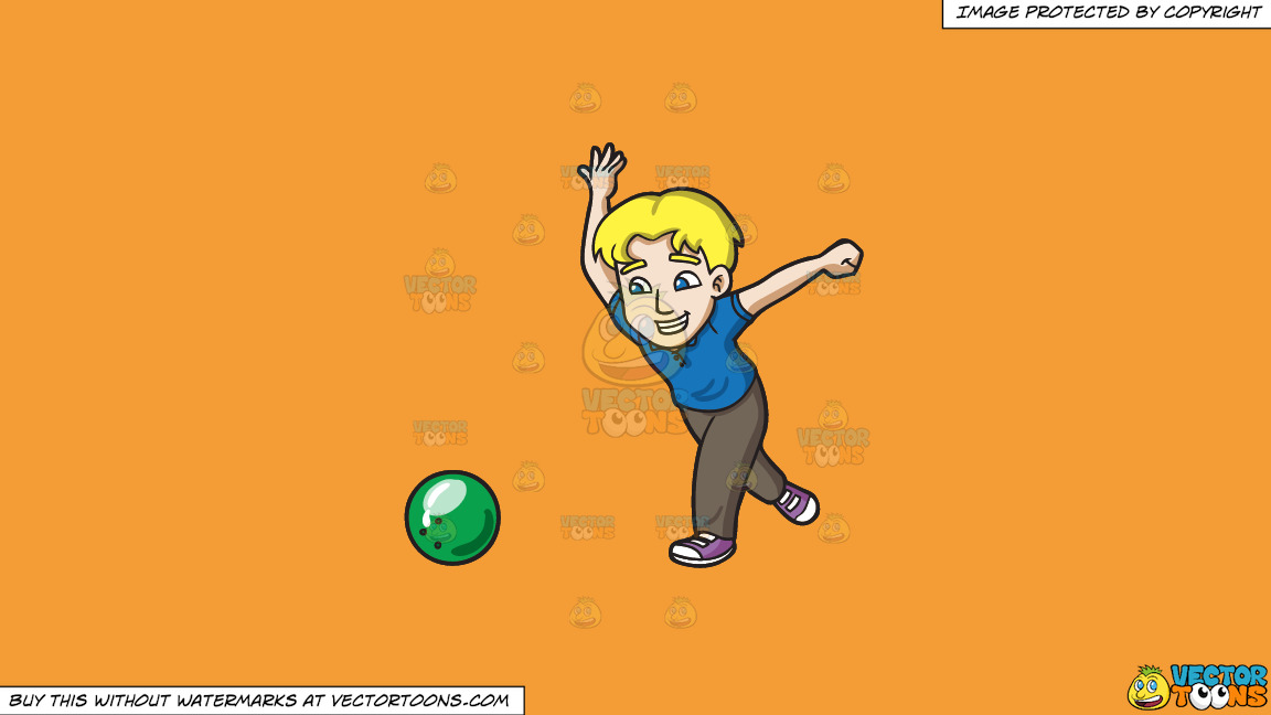 A Happy Man Enjoying A Game Of Bowling On A Solid Deep Saffron Gold F49d37 Background thumbnail