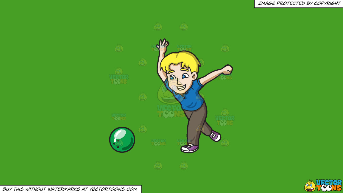 A Happy Man Enjoying A Game Of Bowling On A Solid Kelly Green 47a025 Background thumbnail