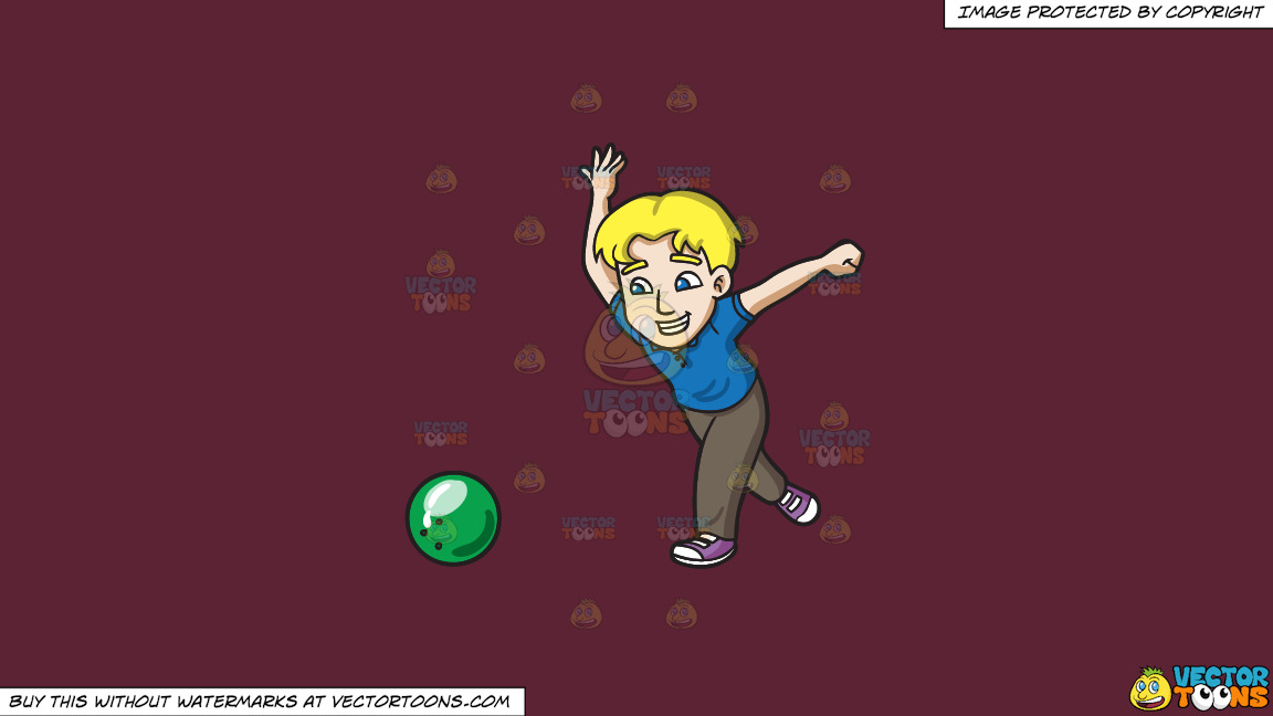 A Happy Man Enjoying A Game Of Bowling On A Solid Red Wine 5b2333 Background thumbnail