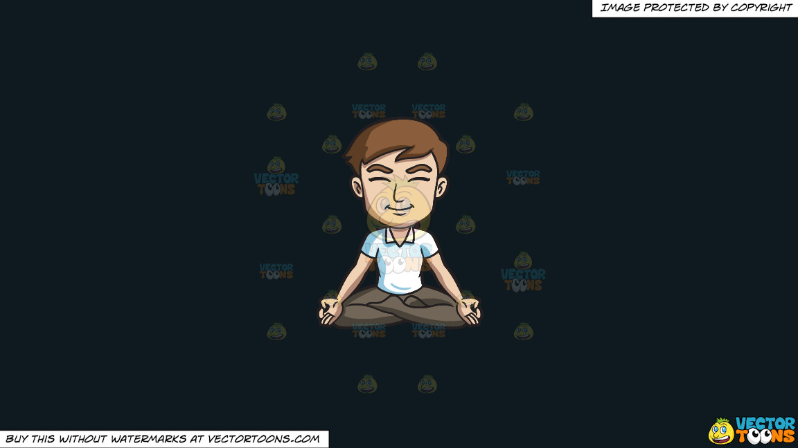 A Happy Man Meditating With His Legs Crossed On A Solid Off Black 0f1a20 Background thumbnail