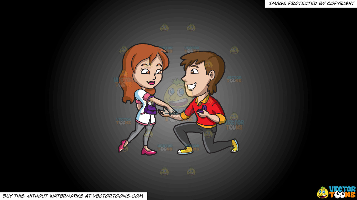 A Happy Man Proposing Marriage To His Girlfriend On A Grey And Black Gradient Background thumbnail