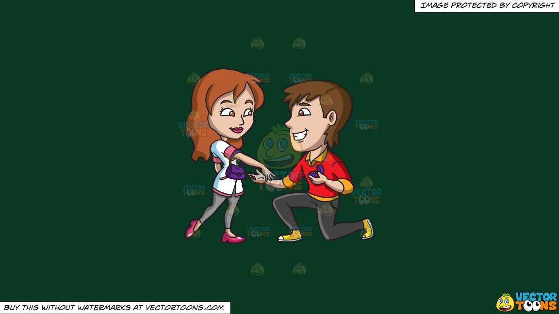A Happy Man Proposing Marriage To His Girlfriend On A Solid Dark Green 093824 Background thumbnail
