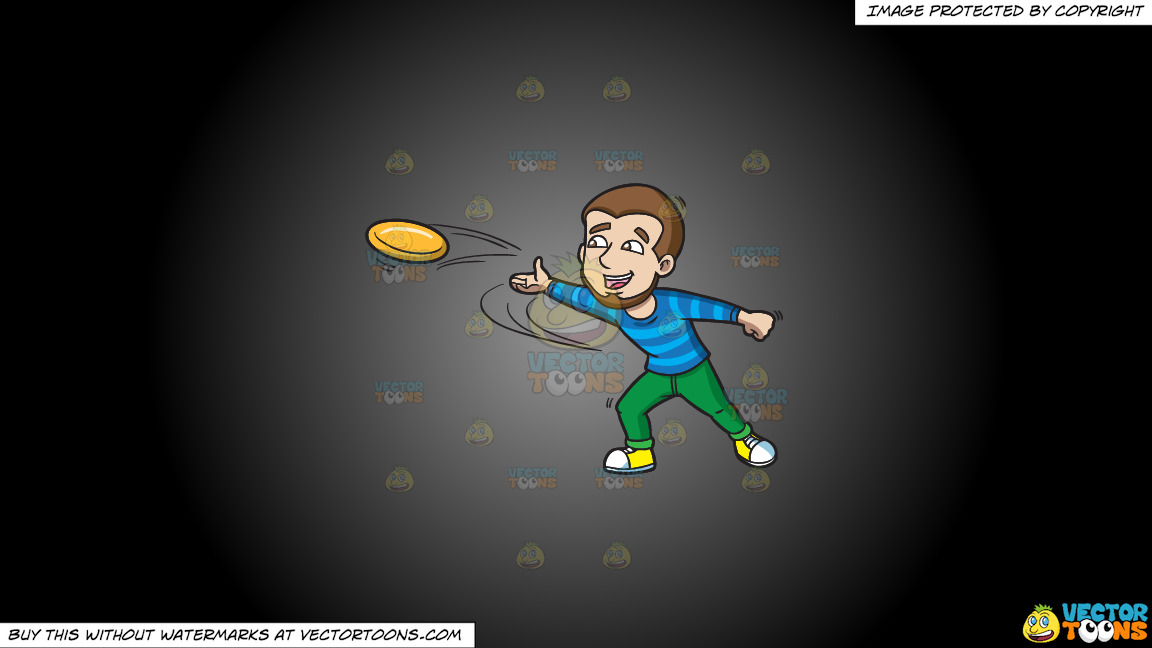 A Happy Man Throwing A Frisbee On A Grey And Black Gradient Background thumbnail