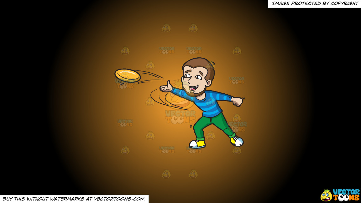 A Happy Man Throwing A Frisbee On A Orange And Black Gradient Background thumbnail