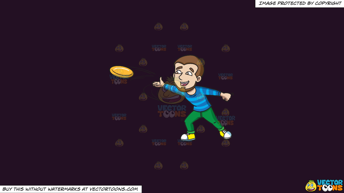 A Happy Man Throwing A Frisbee On A Solid Purple Rasin 241023 Background thumbnail