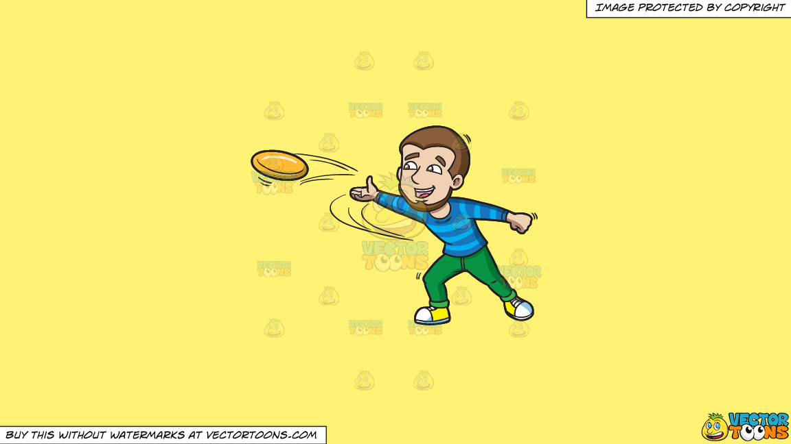 A Happy Man Throwing A Frisbee On A Solid Sunny Yellow Fff275 Background thumbnail