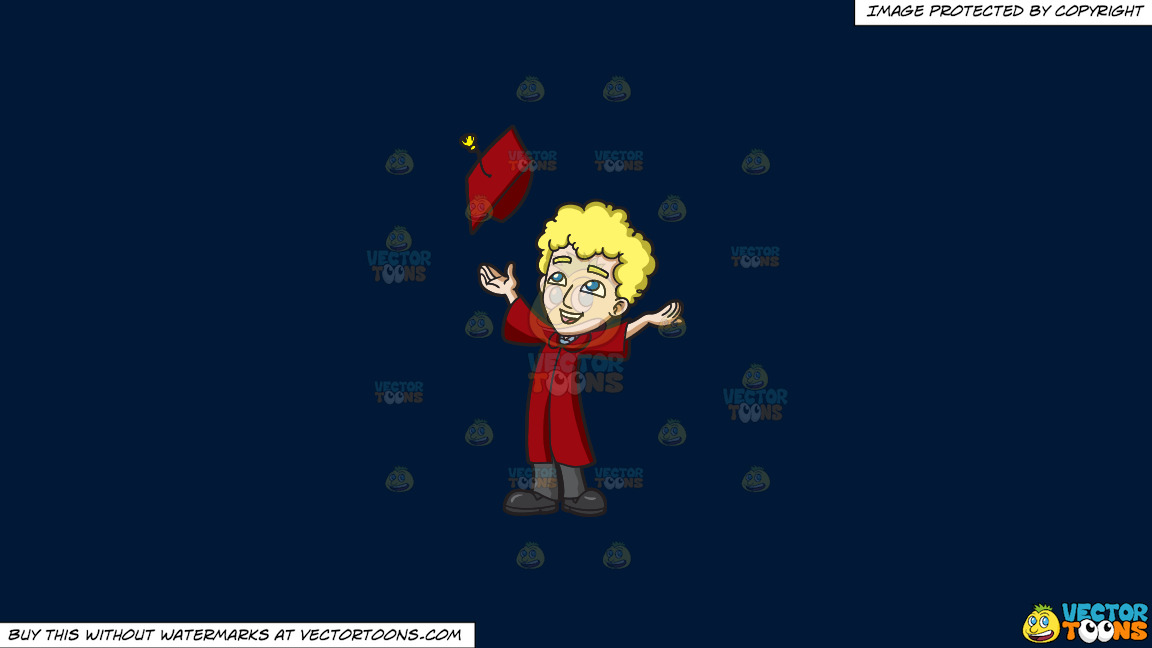 A Happy Man Tossing His Graduation Cap On A Solid Dark Blue 011936 Background thumbnail