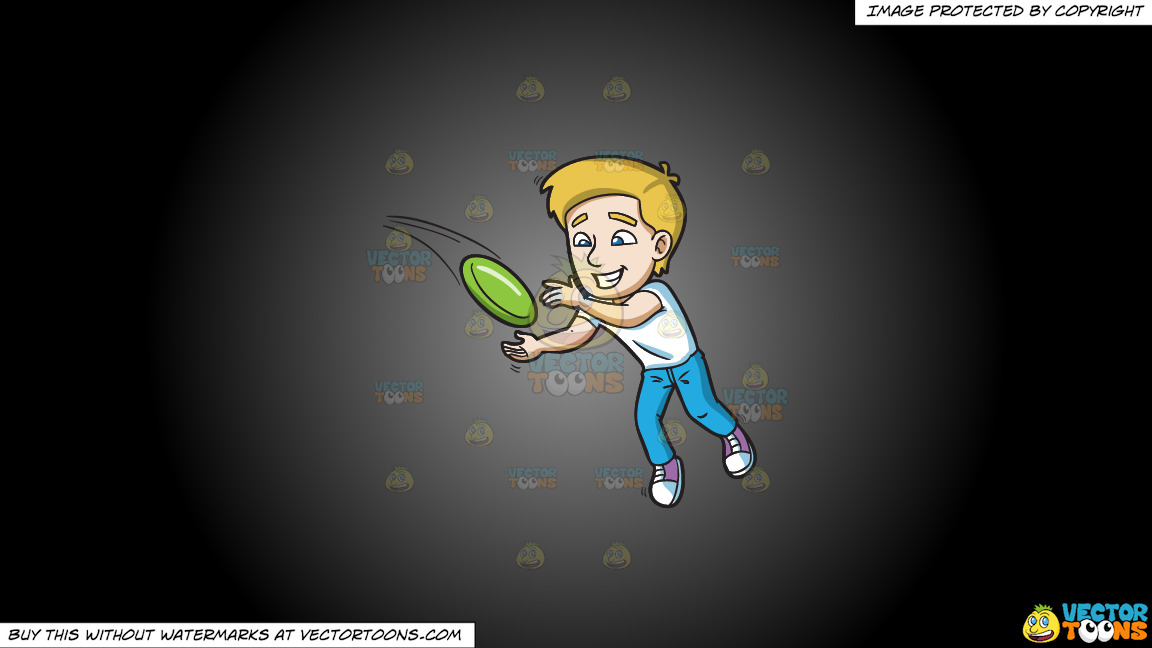 A Happy Man Trying To Get A Hold Of The Flying Frisbee On A Grey And Black Gradient Background thumbnail