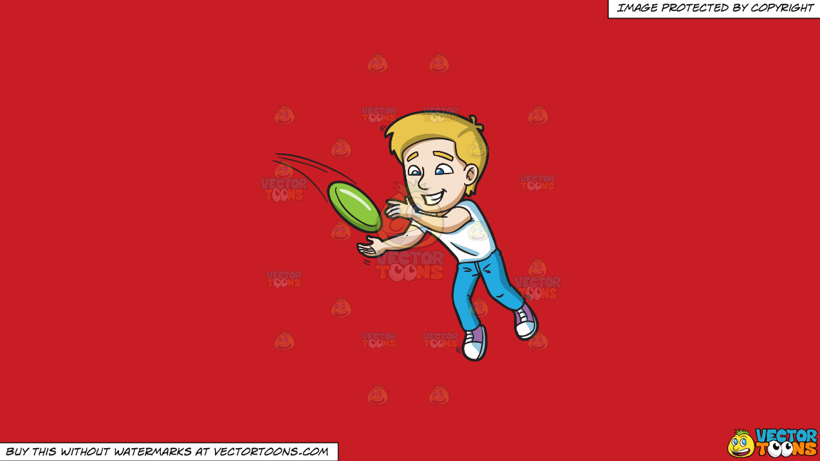 A Happy Man Trying To Get A Hold Of The Flying Frisbee On A Solid Fire Engine Red C81d25 Background thumbnail