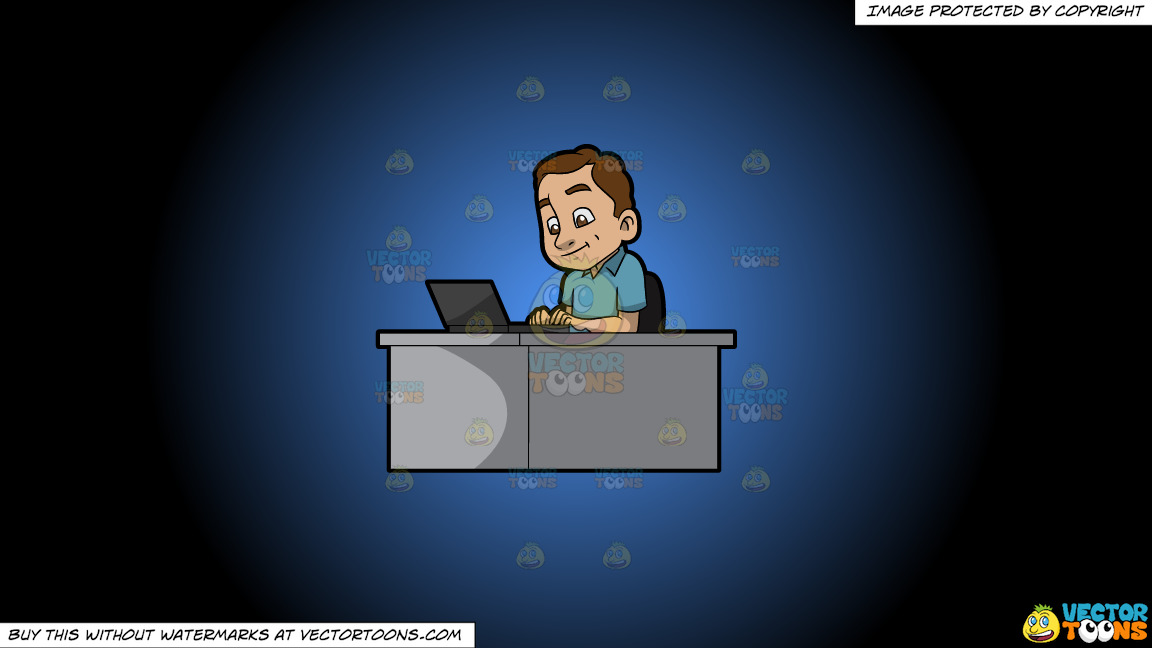 A Happy Man Typing On His Laptop On A Blue And Black Gradient Background thumbnail