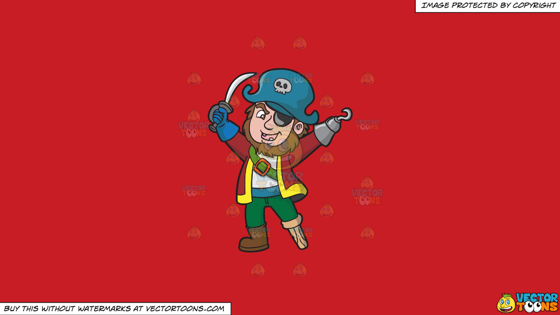 A Happy Pirate With Missing Teeth And An Eye Patch On A Solid Fire Engine Red C81d25 Background thumbnail