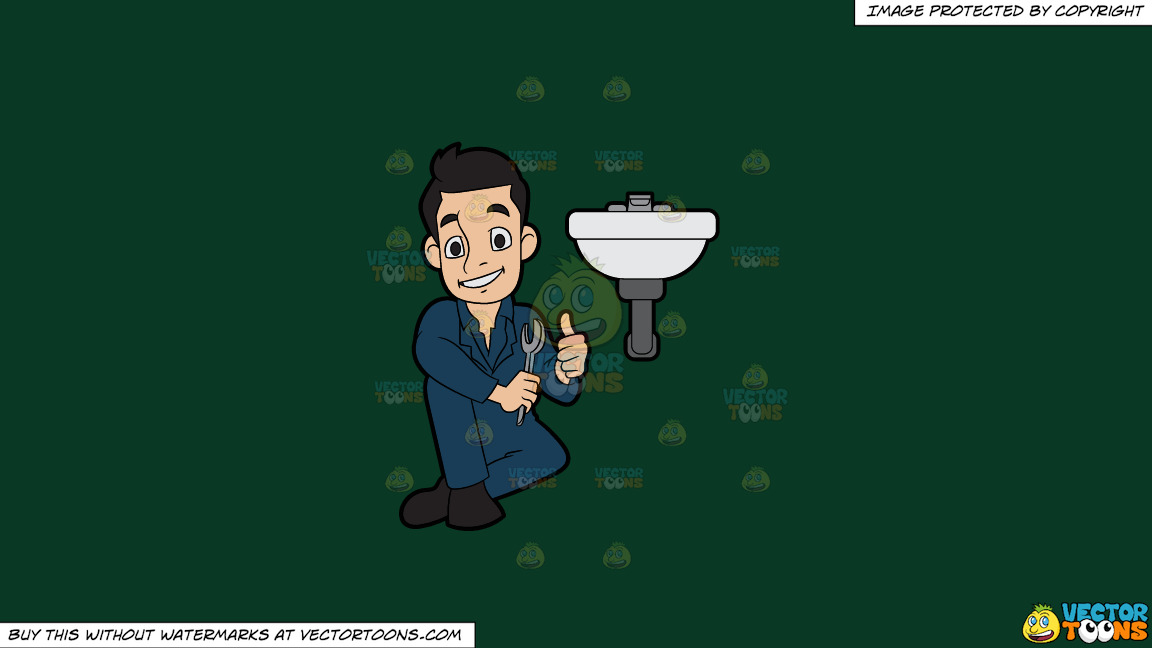 A Happy Plumber Fixing A Bathroom Sink On A Solid Dark Green 093824 Background thumbnail