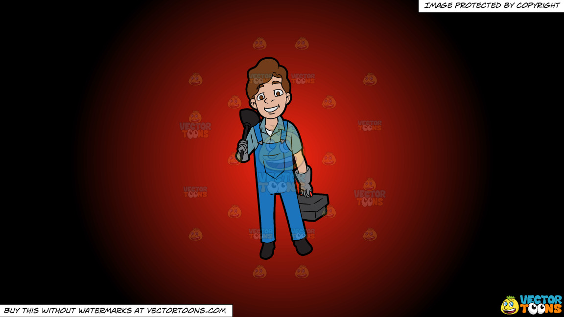 A Happy Plumber On His Way To Work On A Red And Black Gradient Background thumbnail