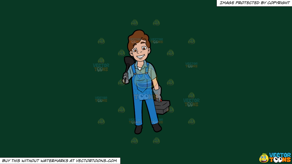 A Happy Plumber On His Way To Work On A Solid Dark Green 093824 Background thumbnail
