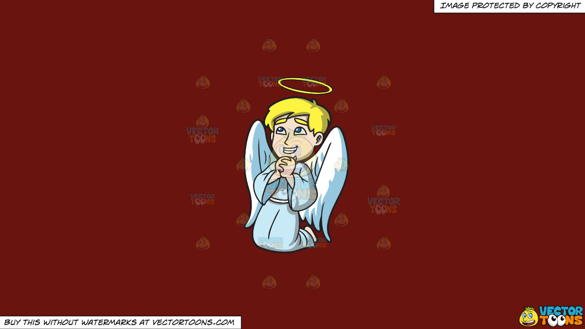 A Happy Praying Angel On A Solid Maroon 69140e Background thumbnail