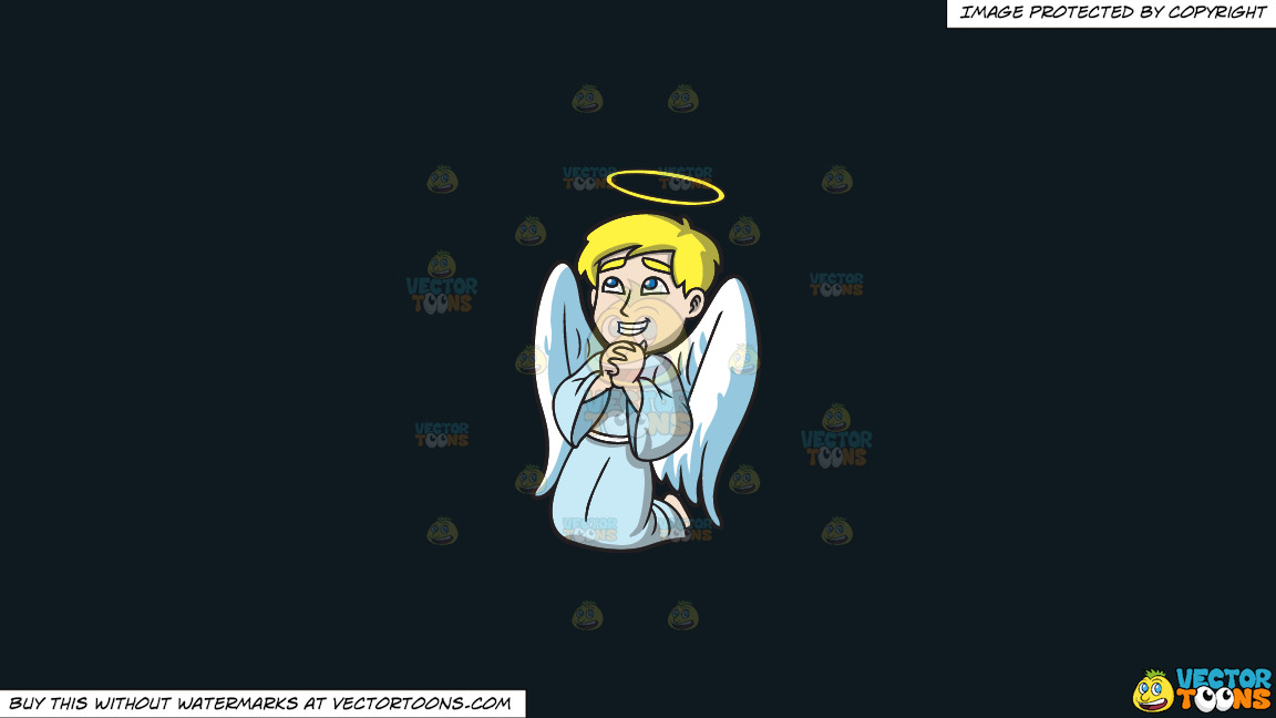 A Happy Praying Angel On A Solid Off Black 0f1a20 Background thumbnail