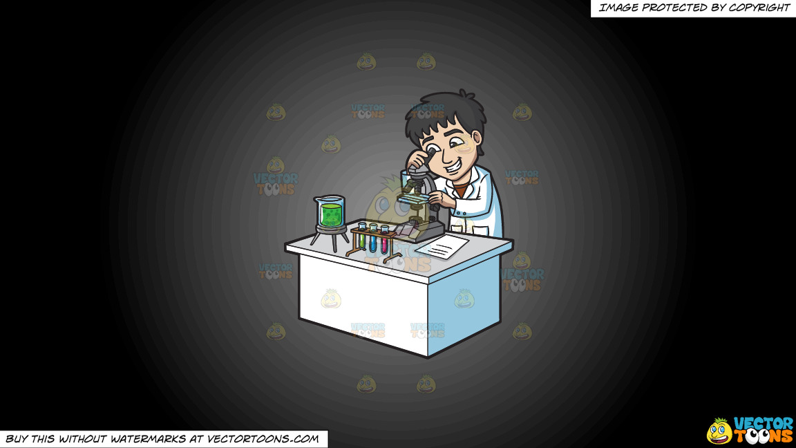A Happy Scientist Looking At An Organism Under A Microscope On A Grey And Black Gradient Background thumbnail