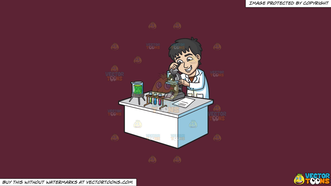A Happy Scientist Looking At An Organism Under A Microscope On A Solid Red Wine 5b2333 Background thumbnail