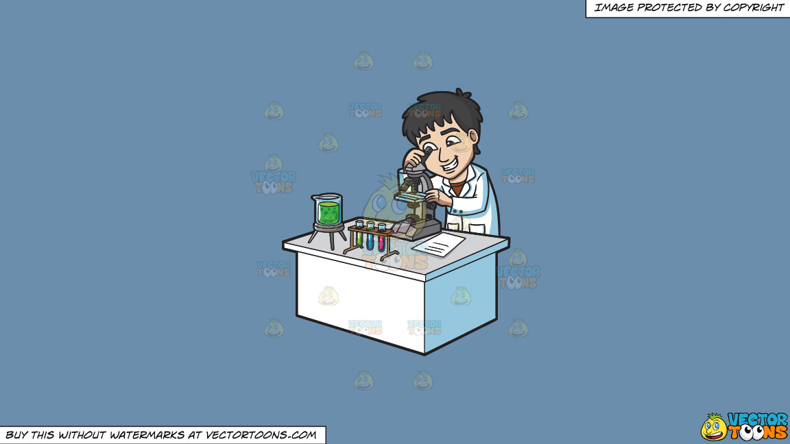 A Happy Scientist Looking At An Organism Under A Microscope On A Solid Shadow Blue 6c8ead Background thumbnail