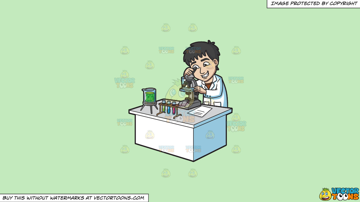 A Happy Scientist Looking At An Organism Under A Microscope On A Solid Tea Green C2eabd Background thumbnail