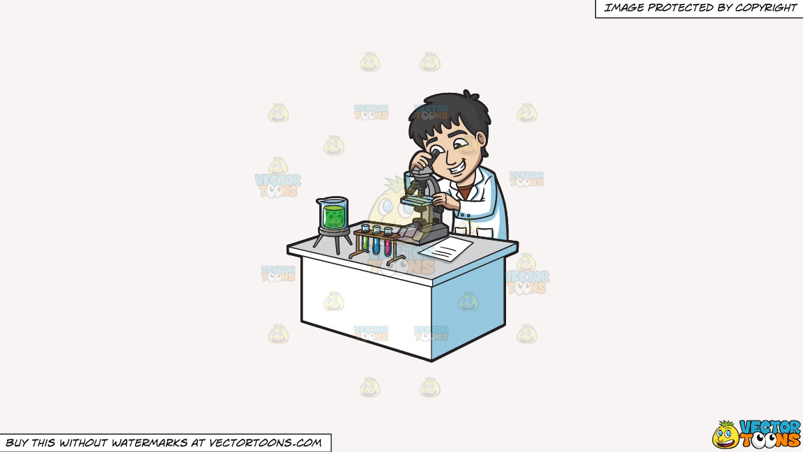 A Happy Scientist Looking At An Organism Under A Microscope On A Solid White Smoke F7f4f3 Background thumbnail