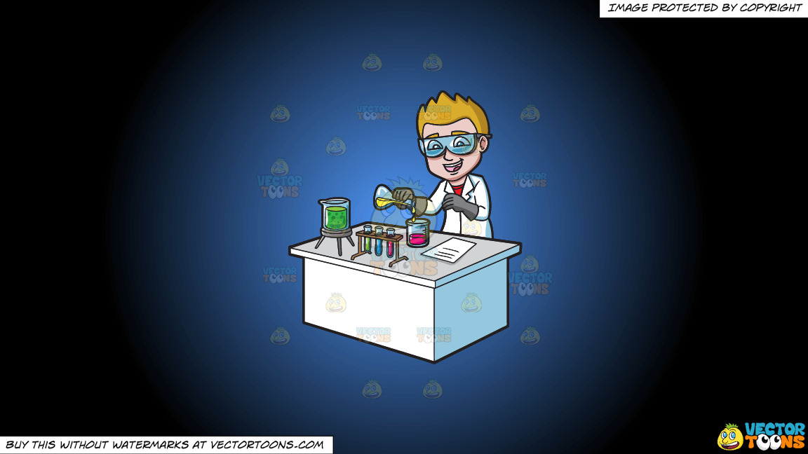 A Happy Scientist Mixing Chemicals On A Blue And Black Gradient Background thumbnail