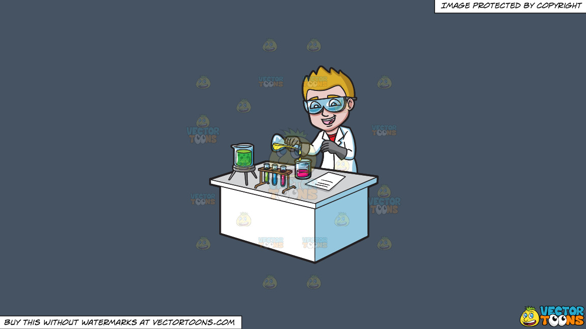A Happy Scientist Mixing Chemicals On A Solid Metal Grey 465362 Background thumbnail