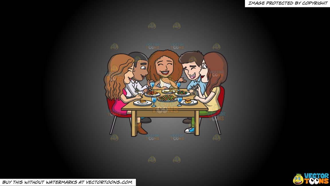 A Happy Set Of Diverse Friends Having Dinner On A Grey And Black Gradient Background thumbnail