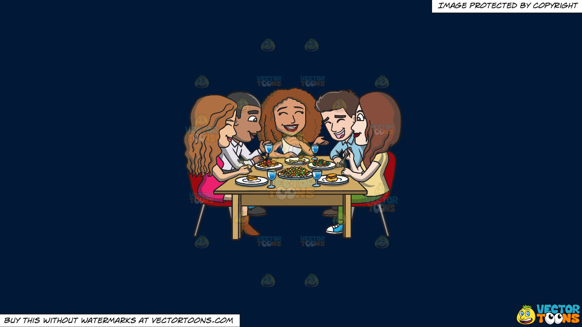 A Happy Set Of Diverse Friends Having Dinner On A Solid Dark Blue 011936 Background thumbnail