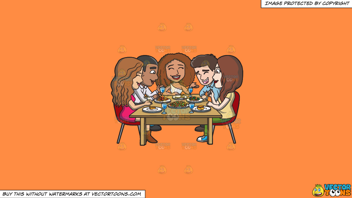 A Happy Set Of Diverse Friends Having Dinner On A Solid Mango Orange Ff8c42 Background thumbnail