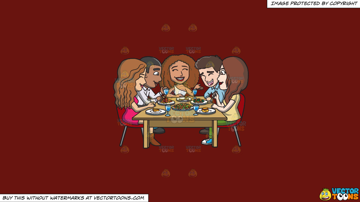 A Happy Set Of Diverse Friends Having Dinner On A Solid Maroon 69140e Background thumbnail