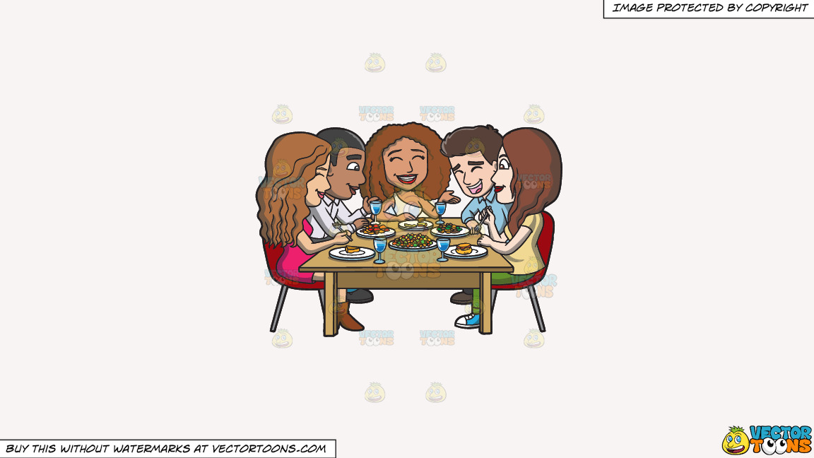 A Happy Set Of Diverse Friends Having Dinner On A Solid White Smoke F7f4f3 Background thumbnail