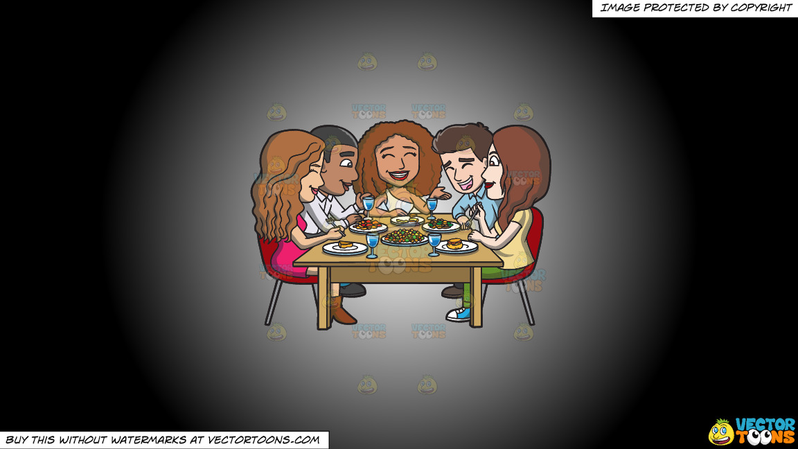 A Happy Set Of Diverse Friends Having Dinner On A White And Black Gradient Background thumbnail