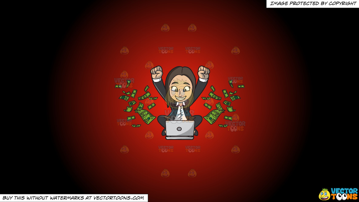 A Happy Woman Delighted With All The Money She Is Making Online On A Red And Black Gradient Background thumbnail