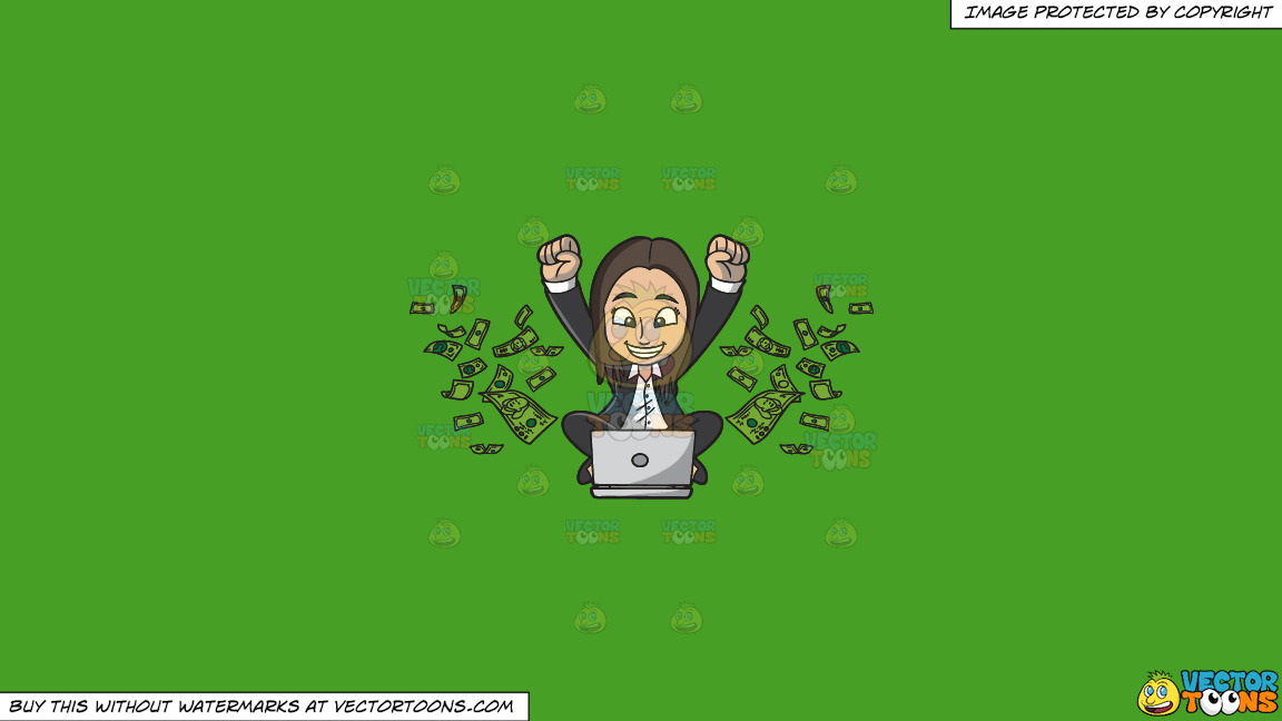 A Happy Woman Delighted With All The Money She Is Making Online On A Solid Kelly Green 47a025 Background thumbnail
