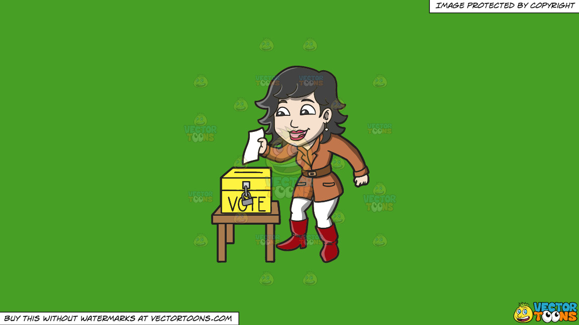 A Happy Woman Dropping Her Ballot In The Ballot Box On A Solid Kelly Green 47a025 Background thumbnail