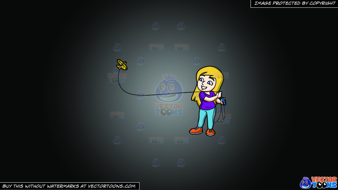 A Happy Woman Flying A Kite On A Grey And Black Gradient Background thumbnail
