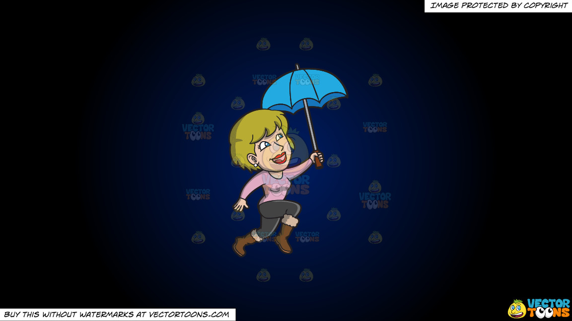 A Happy Woman Hopping In The Rain On A Dark Blue And Black Gradient Background thumbnail