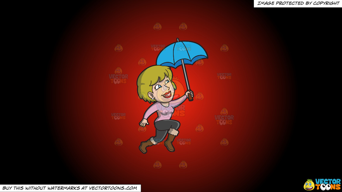 A Happy Woman Hopping In The Rain On A Red And Black Gradient Background thumbnail