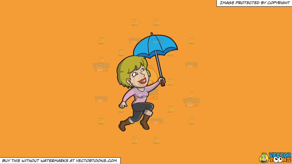 A Happy Woman Hopping In The Rain On A Solid Deep Saffron Gold F49d37 Background thumbnail