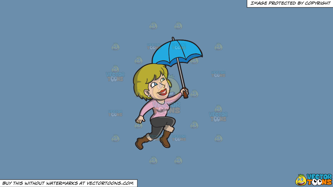 A Happy Woman Hopping In The Rain On A Solid Shadow Blue 6c8ead Background thumbnail