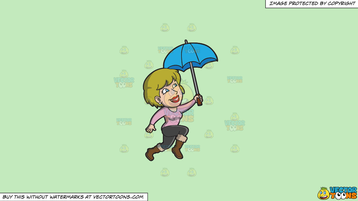 A Happy Woman Hopping In The Rain On A Solid Tea Green C2eabd Background thumbnail