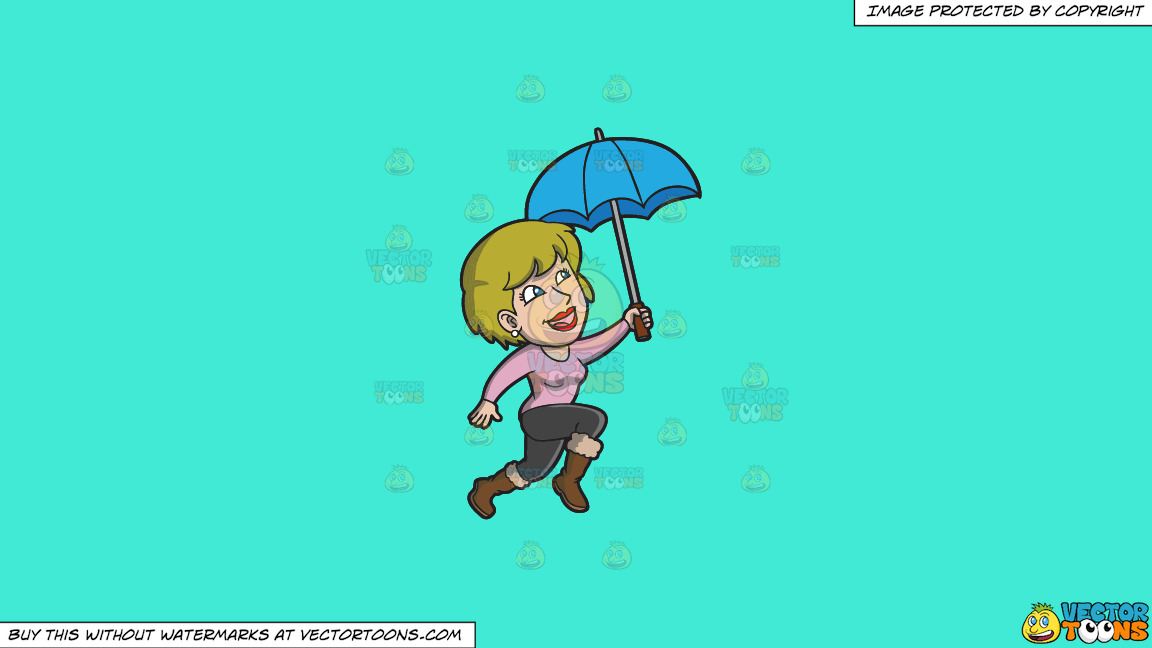 A Happy Woman Hopping In The Rain On A Solid Turquiose 41ead4 Background thumbnail