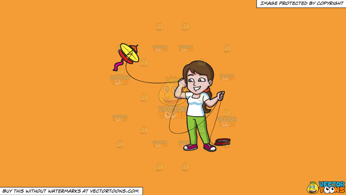 A Happy Woman Looking Over To The Flying Kite On A Solid Deep Saffron Gold F49d37 Background thumbnail