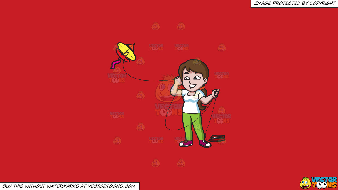 A Happy Woman Looking Over To The Flying Kite On A Solid Fire Engine Red C81d25 Background thumbnail