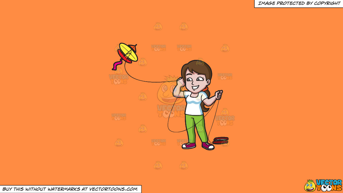 A Happy Woman Looking Over To The Flying Kite On A Solid Mango Orange Ff8c42 Background thumbnail